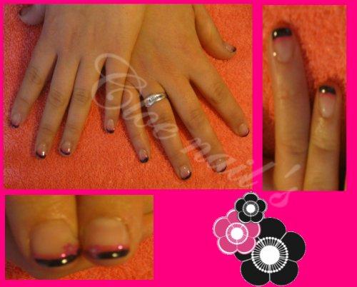 ongle en gel noir et rose fushia paillett avec tips d co stickers fleur rose. Black Bedroom Furniture Sets. Home Design Ideas